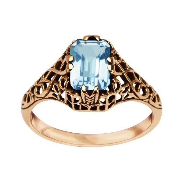 Zdjęcie Kolekcja Wiktoriańska - pierścionek złoty z topazem #1