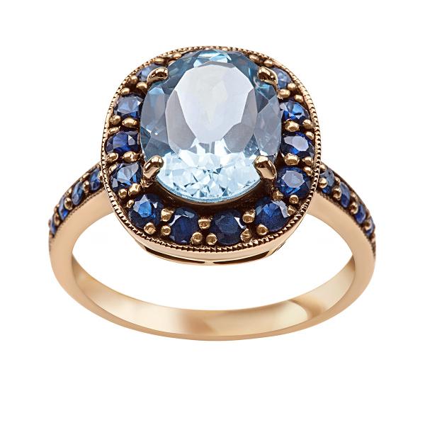 Zdjęcie Kolekcja Wiktoriańska - pierścionek złoty z topazem i szafirami #1