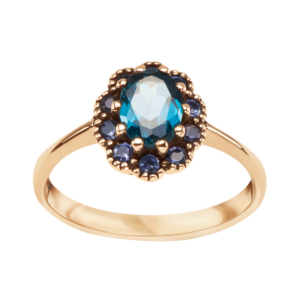 Zdjęcie Kolekcja Wiktoriańska - pierścionek z żółtego złota z topazem i tanzanitami #1