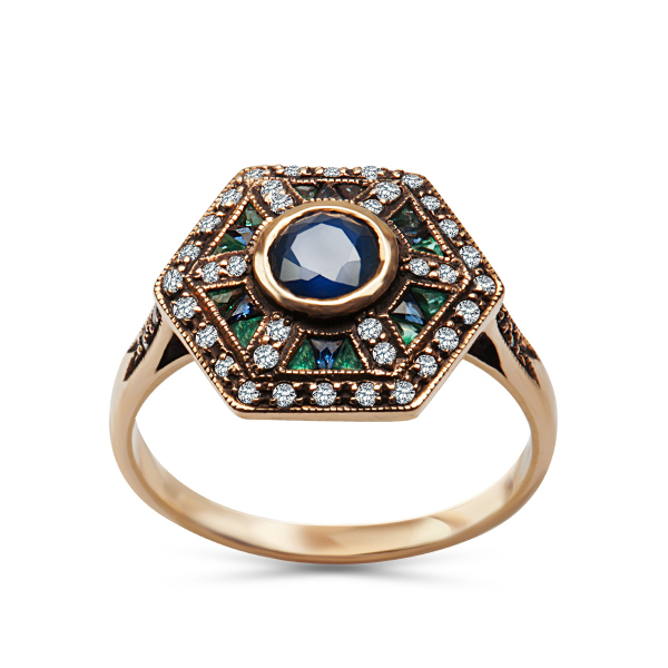 Zdjęcie Kolekcja Wiktoriańska - pierścionek ze szmaragdami i szafirami #1