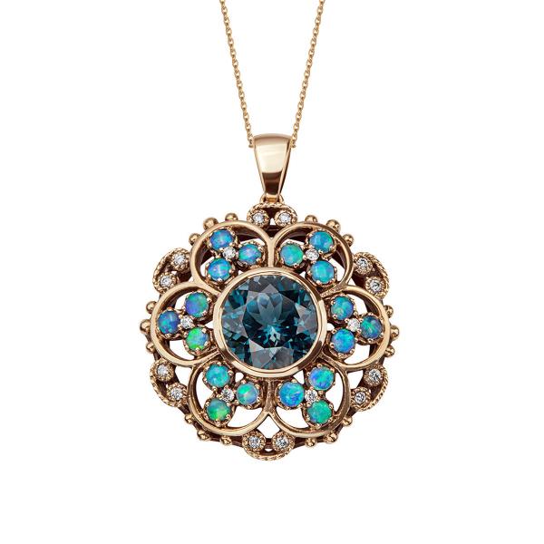 Zdjęcie Kolekcja Wiktoriańska - zawieszka złota z diamentami i London Blue Topazem #1