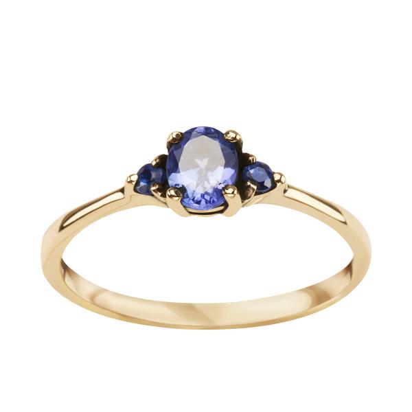 Zdjęcie Kolekcja Wiktoriańska - pierścionek złoty z tanzanitem i szafirami #1