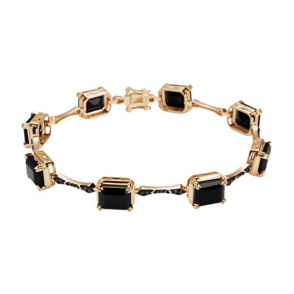 Zdjęcie Midnight - bransoletka złota z diamentami i onyksami #1