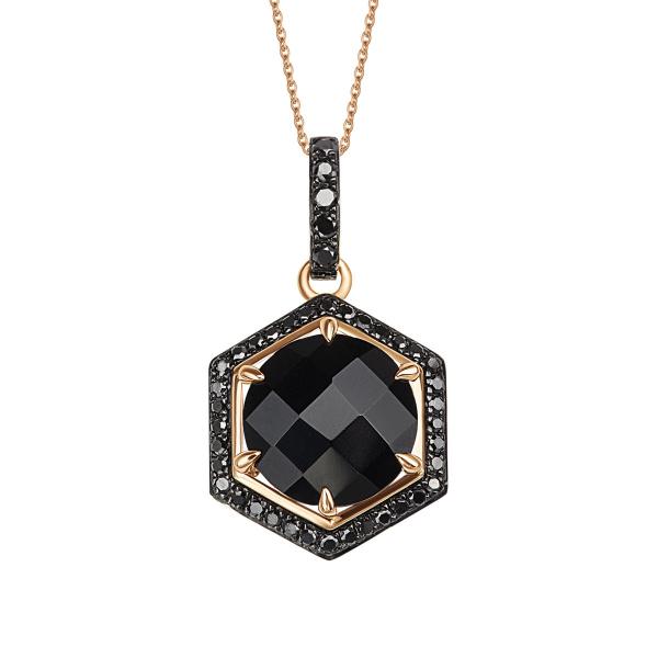 Zdjęcie Midnight - zawieszka złota z diamentami i onyksem #1