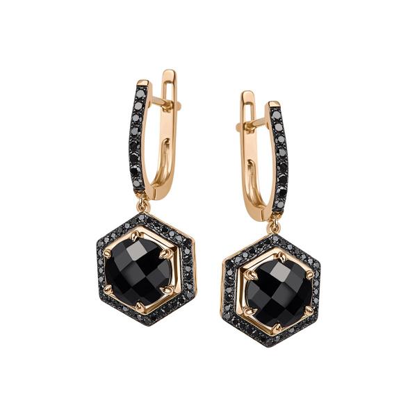 Zdjęcie Midnight - kolczyki złote z diamentami i onyksami #1