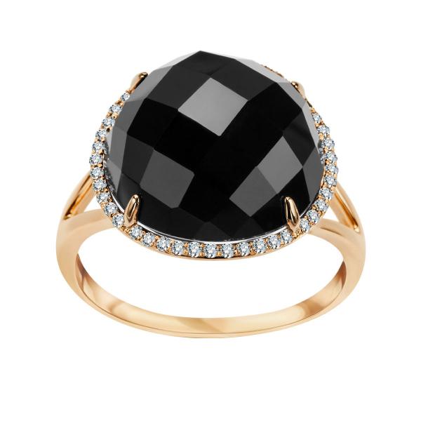 Zdjęcie Midnight - pierścionek złoty z diamentami i onyksem #1