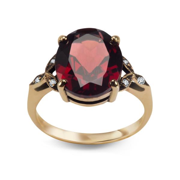 Zdjęcie Kolekcja Wiktoriańska - pierścionek z diamentami oraz granatami #1