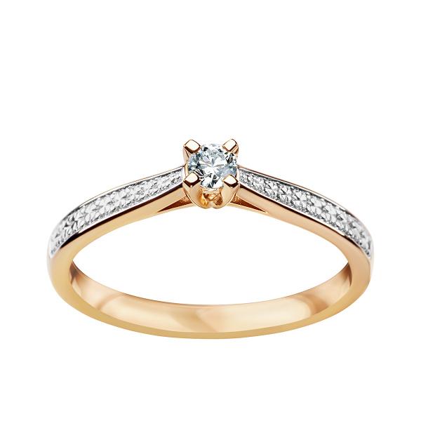 Zdjęcie Pierścionek z dwukolorowego złota z diamentem #1