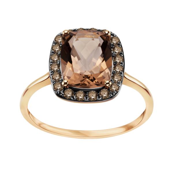 Zdjęcie Pierścionek złoty z diamentami i kwarcem #1