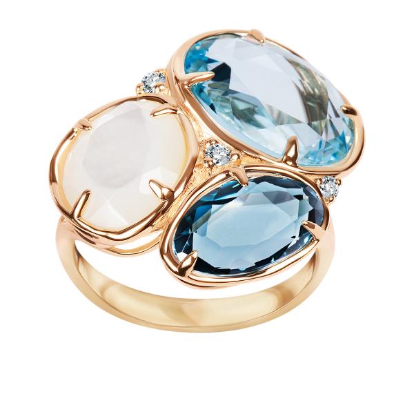 pierścionek-złoty-z-diamentami,-masą-perłową-i-topazami-1