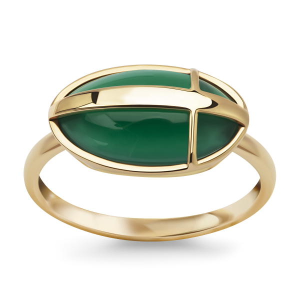 Zdjęcie Skarabeusz - pierścionek złoty z agatem #1