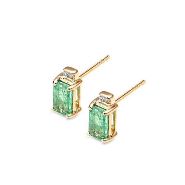Zdjęcie Złote kolczyki z diamentami i szmaragdami #1