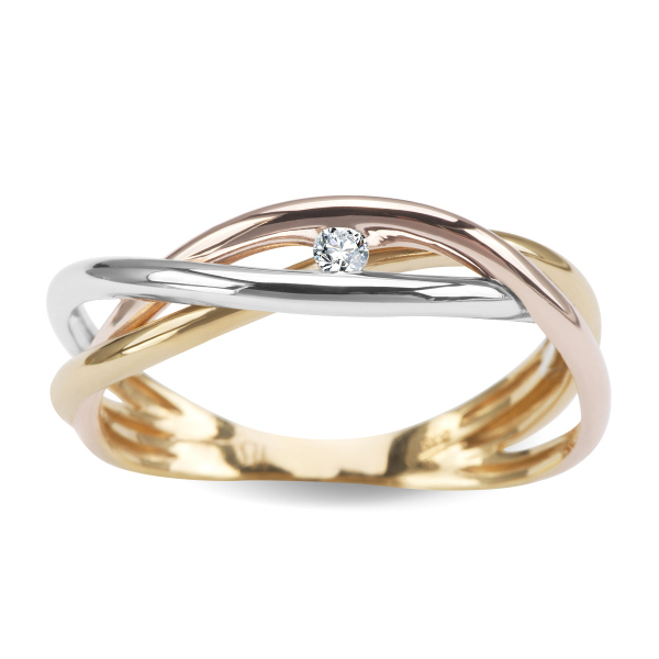 Zdjęcie Pierścionek z trójkolorowego złota z diamentem #1