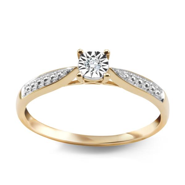 Zdjęcie Pierścionek z żółtego złota z diamentem #1