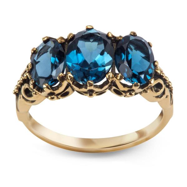 Zdjęcie Kolekcja Wiktoriańska - pierścionek z London Blue Topazami #1