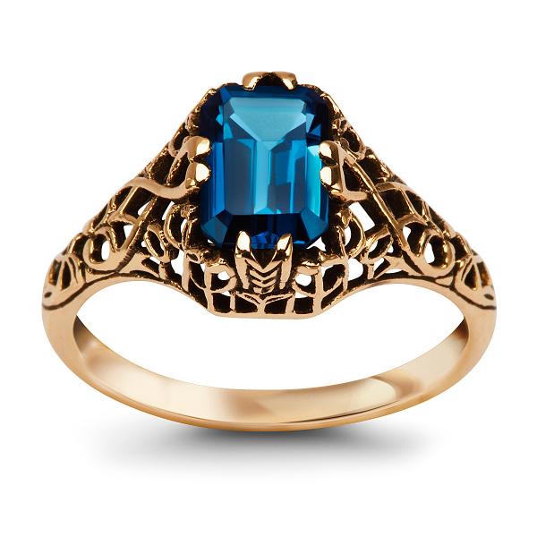 Zdjęcie Kolekcja Wiktoriańska - pierścionek z żółtego złota z topazem #1