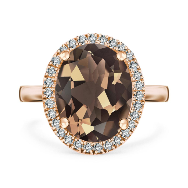 Zdjęcie Jubilé - pierścionek z żółtego złota z diamentami i kwarcem #1