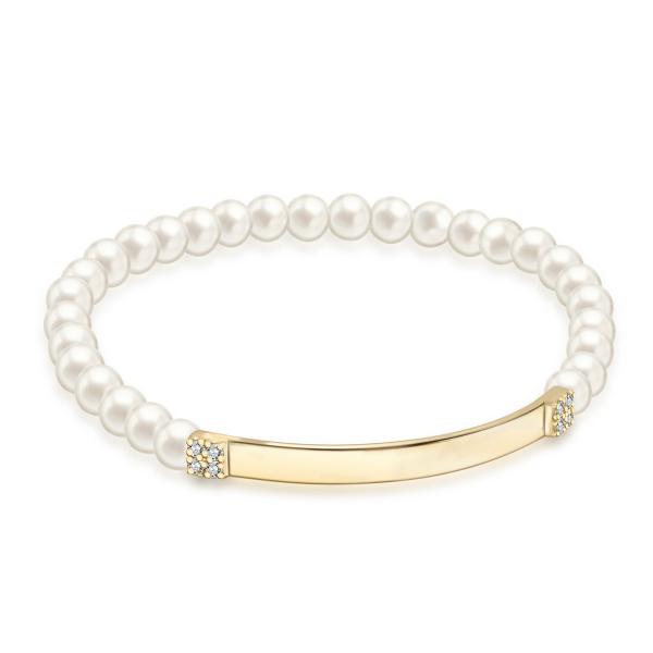 Zdjęcie Shine - bransoletka z żółtego złota z perłami i cyrkoniami #1