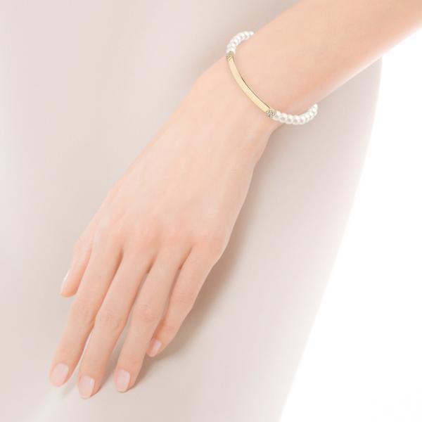 Zdjęcie Shine - bransoletka z żółtego złota z perłami i cyrkoniami #2