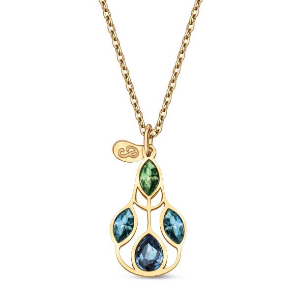 Zdjęcie Pavoni - naszyjnik srebrny pokryty żółtym złotem z kryształami Swarovskiego #1