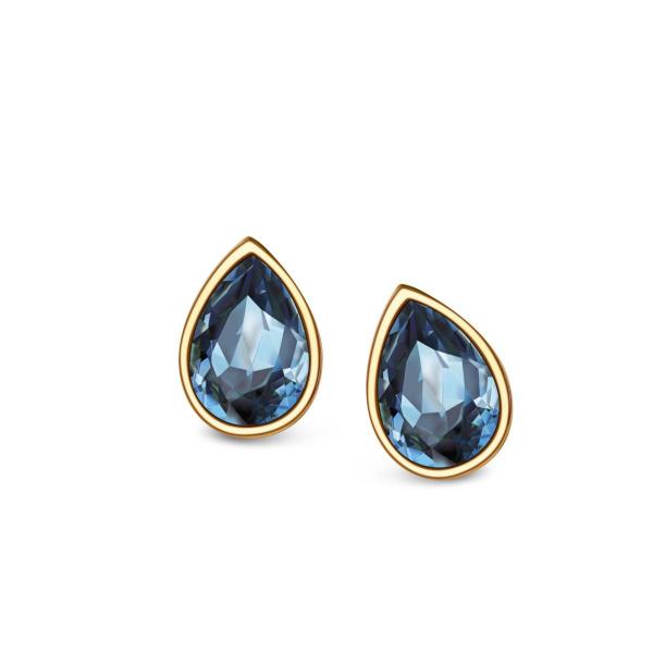 Zdjęcie Pavoni - kolczyki srebrne pokryte złotem z kryształami Swarovskiego #4