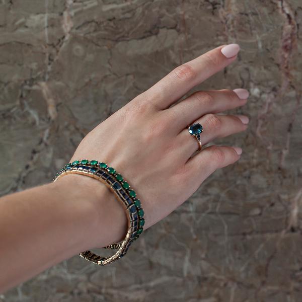 Zdjęcie Kolekcja Wiktoriańska - bransoletka złota z diamentami i szmaragdami #4