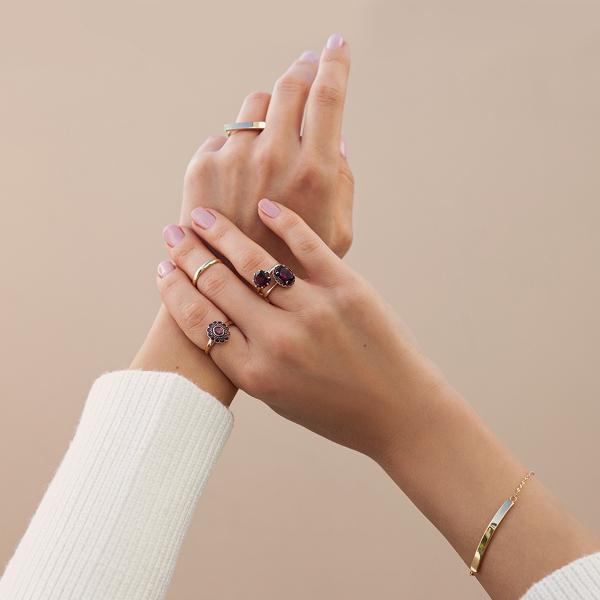 Zdjęcie Kolekcja Wiktoriańska - pierścionek z żłote z rodolitem i rubinami  #2