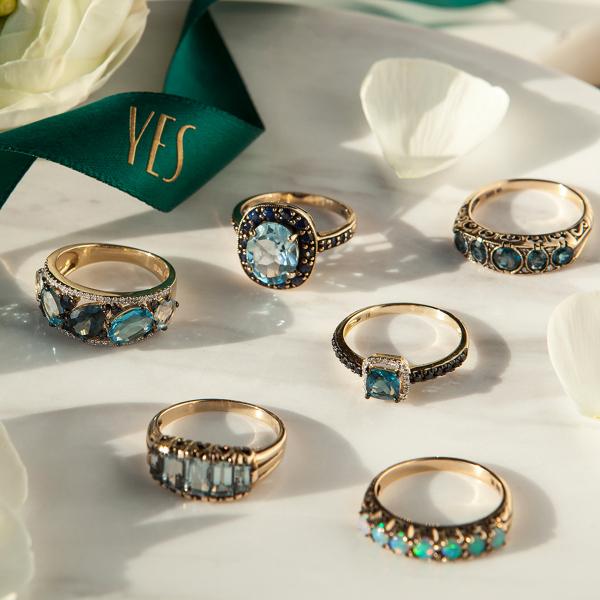 Zdjęcie Kolekcja Wiktoriańska - pierścionek złoty z topazem i szafirami #4