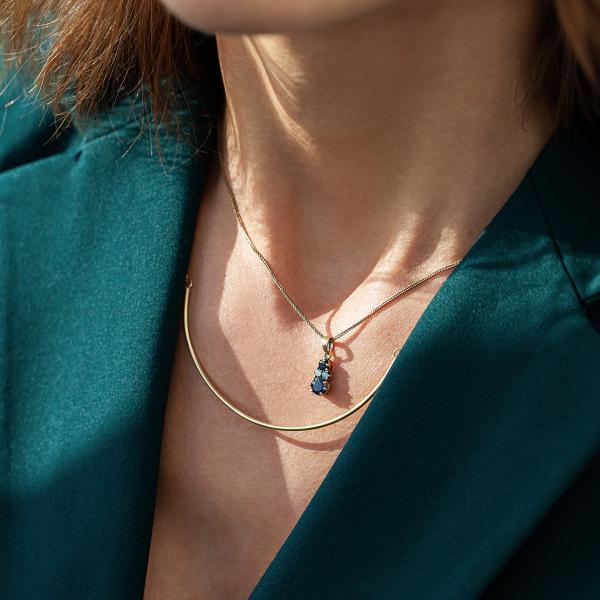 Zdjęcie Kolekcja Wiktoriańska - zawieszka złota z szafirami i opalem #4