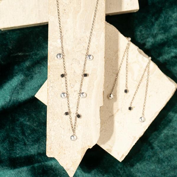 Zdjęcie Naszyjnik srebrny z hematytem #2