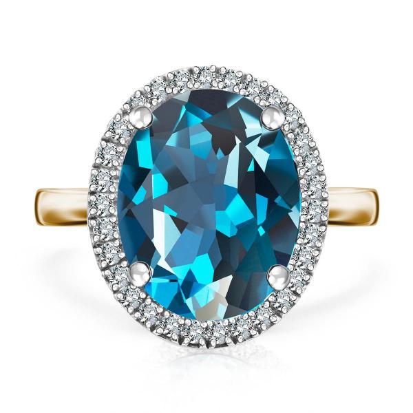 Zdjęcie Jubilé - pierścionek z żółtego złota z diamentami i topazem #1