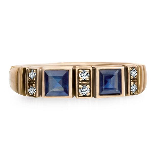 Zdjęcie Kolekcja Wiktoriańska - pierścionek z diamentami i szafirami #1