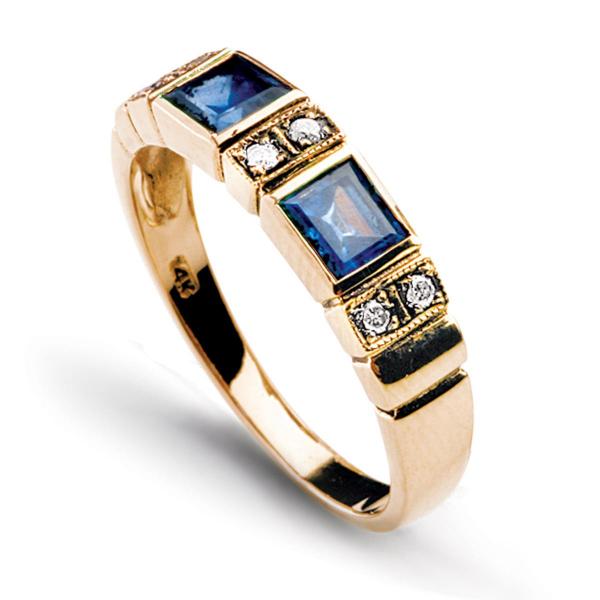 Zdjęcie Kolekcja Wiktoriańska - pierścionek z diamentami i szafirami #2