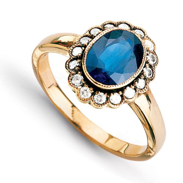 Zdjęcie Kolekcja Wiktoriańska - pierścionek z żółtego złota z szafirem i diamentami #2