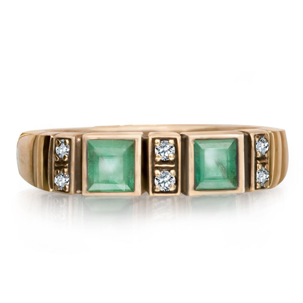 Zdjęcie Kolekcja Wiktoriańska - pierścionek z brylantami i szmaragdami #1