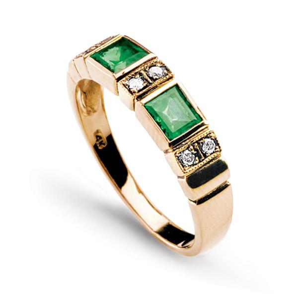 Zdjęcie Kolekcja Wiktoriańska - pierścionek z brylantami i szmaragdami #2