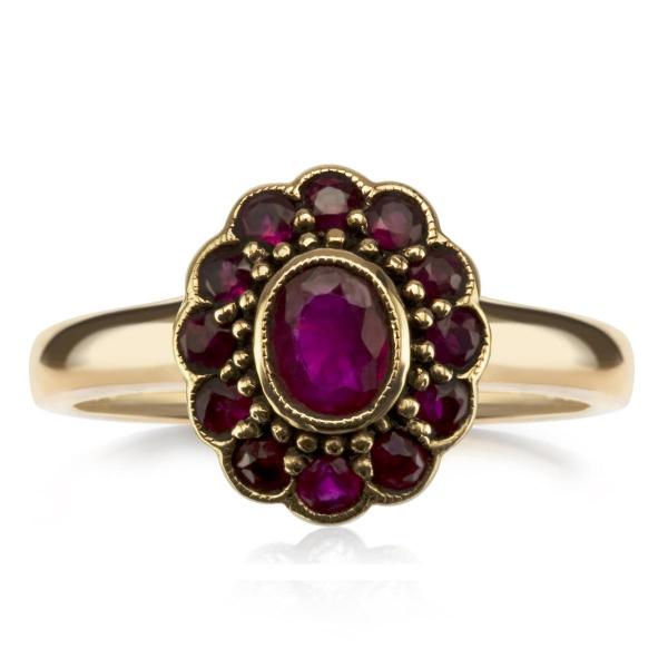 Zdjęcie Kolekcja Wiktoriańska - pierścionek złoty z rubinami #1
