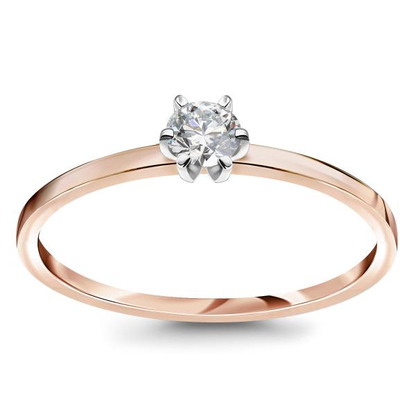 Zdjęcie Lotos - pierścionek z różowego złota z diamentem #1