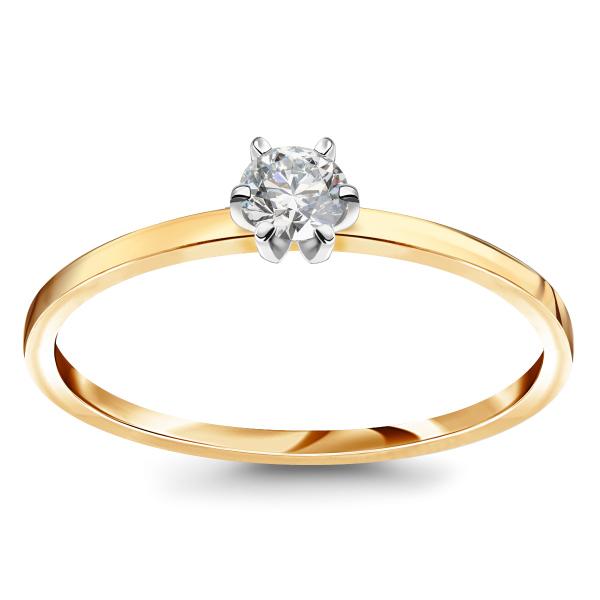 Zdjęcie Lotos - pierścionek złoty z diamentem #1