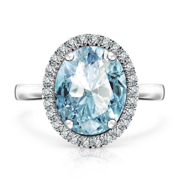 Zdjęcie Jubilé - złoty pierścionek z topazem błękitnym i diamentami #1