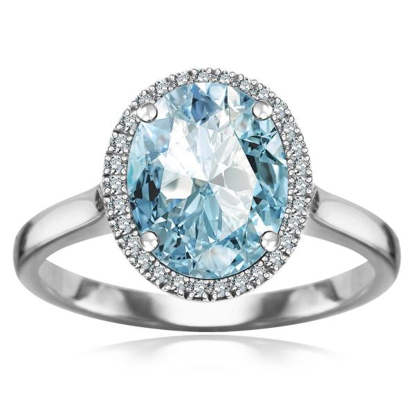 Zdjęcie Jubilé - złoty pierścionek z topazem błękitnym i diamentami #3