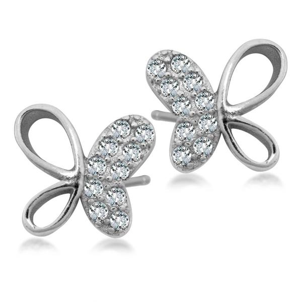 Zdjęcie Mini - kolczyki srebrne z cyrkoniami #1