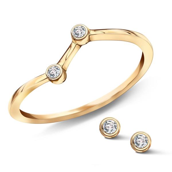 Zdjęcie Zodiak - kolczyki srebrne pokryte złotem z cyrkoniami #6