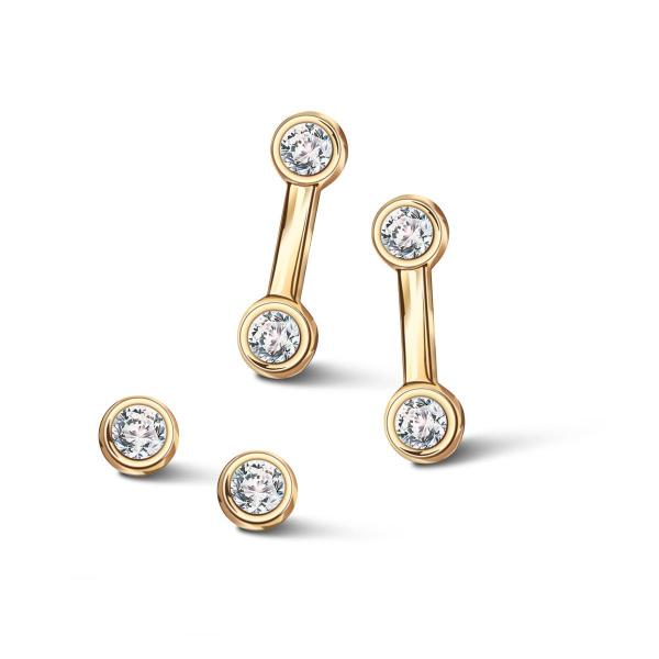 Zdjęcie Zodiak - kolczyki srebrne pokryte złotem z cyrkoniami #3