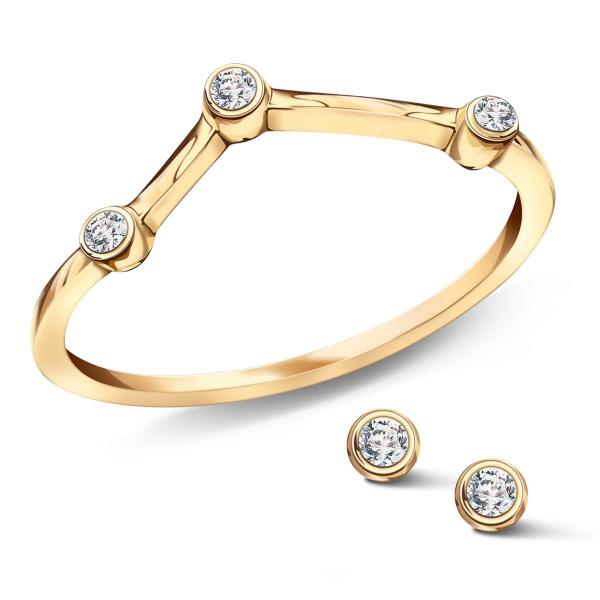 Zdjęcie Zodiak - kolczyki srebrne pokryte złotem z cyrkoniami #2