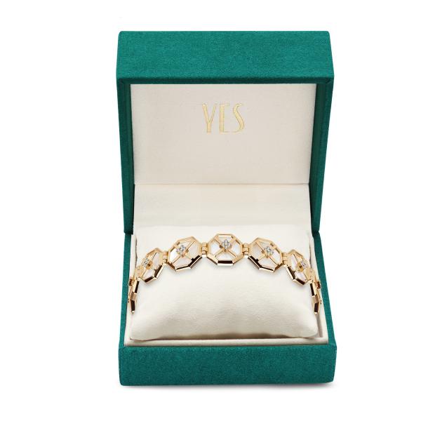 Zdjęcie Art Deco - bransoletka złota z masą perłową i cyrkoniami #2
