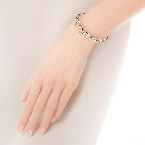 Zdjęcie Art Deco - bransoletka złota z masą perłową i cyrkoniami #3