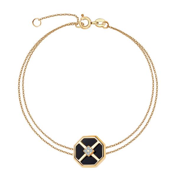 złota bransoletka z onyksem YES