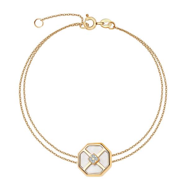złota bransoletka YES z masą perłową