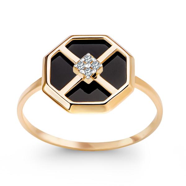 Zdjęcie Art Deco - złoty pierścionek z cyrkoniami #1